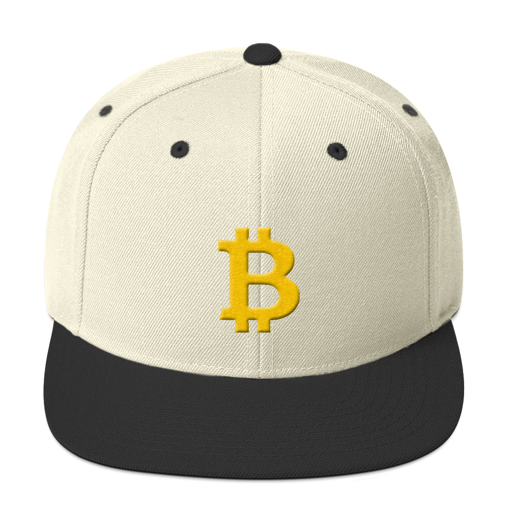 Bitcoin B Snapback Hat Natural/ Black  - zeroconfs