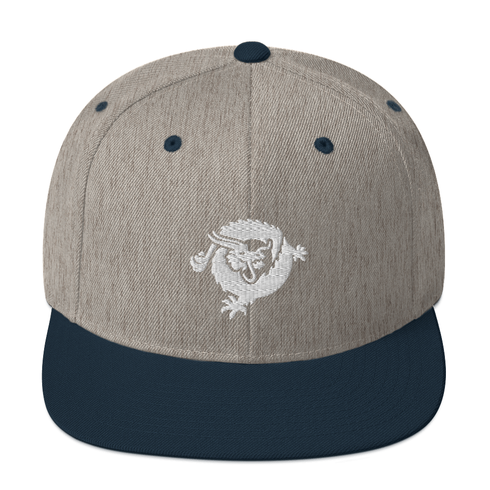 Bitcoin SV Dragon Snapback Hat White Heather Grey/ Navy  - zeroconfs