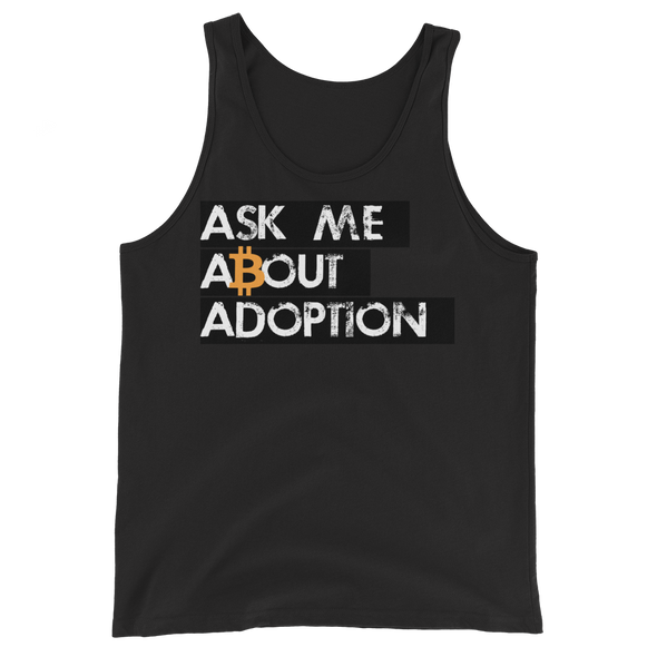Ask Me About Adoption Bitcoin Tank Top Black XS - zeroconfs