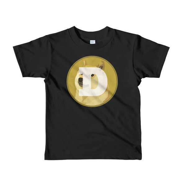 Dogecoin Short Sleeve Kids T-Shirt Black 2yrs - zeroconfs