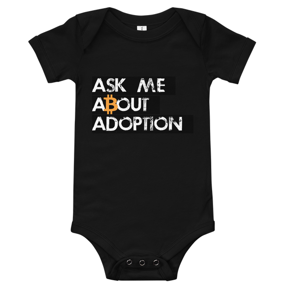 Ask Me About Adoption Bitcoin Baby Bodysuit Black 3-6m - zeroconfs