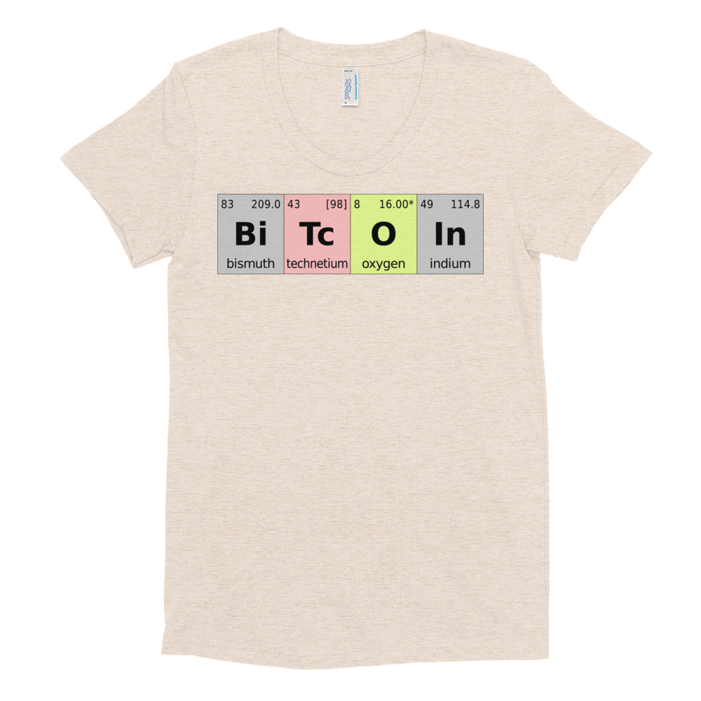 Bitcoin Periodic Table Women's Crew Neck T-Shirt Tri-Oatmeal S - zeroconfs