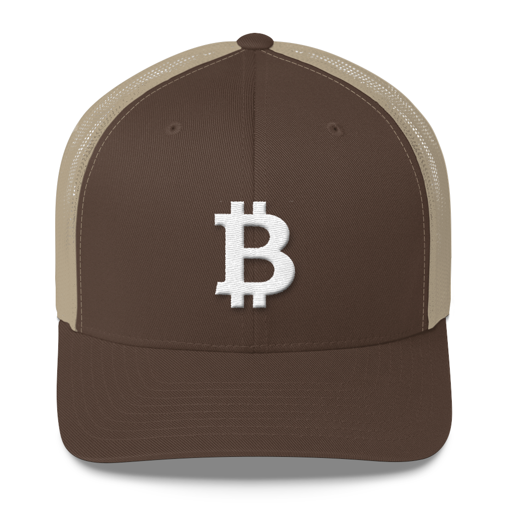 Bitcoin B Trucker Cap White Brown/ Khaki  - zeroconfs