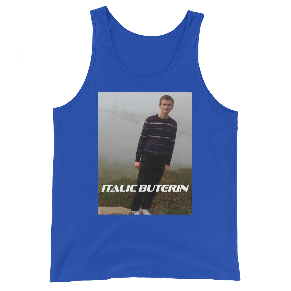 Italic Buterin Ethereum Tank Top True Royal XS - zeroconfs