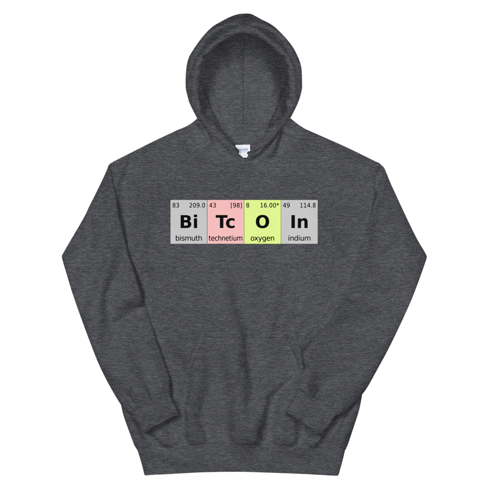 Bitcoin Periodic Table Hooded Sweatshirt Dark Heather S - zeroconfs