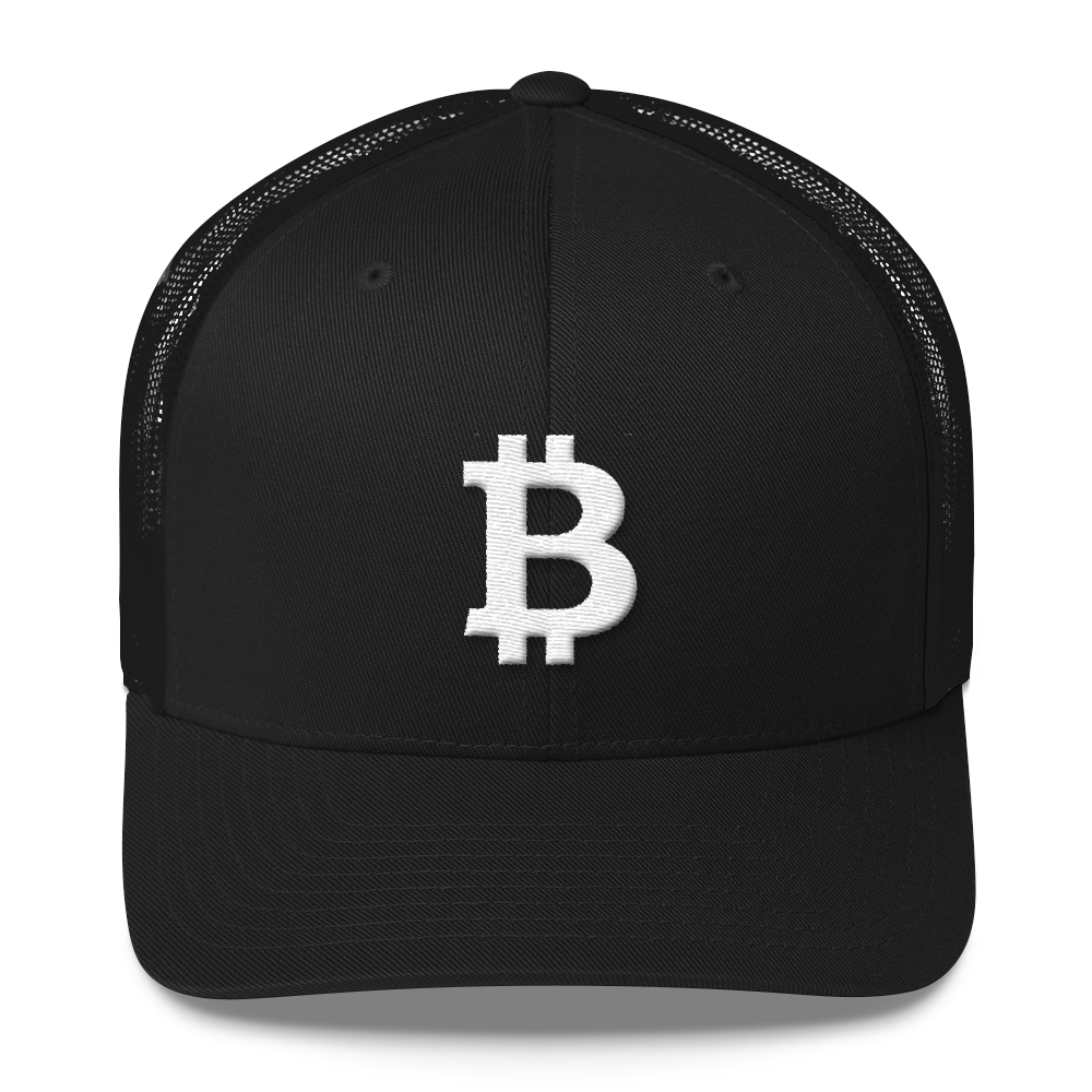 Bitcoin B Trucker Cap White Black  - zeroconfs