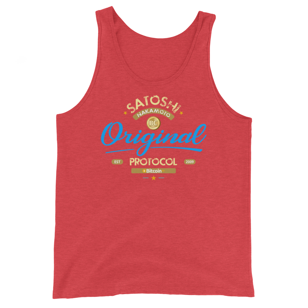 Original Bitcoin Tank Top Red Triblend XS - zeroconfs