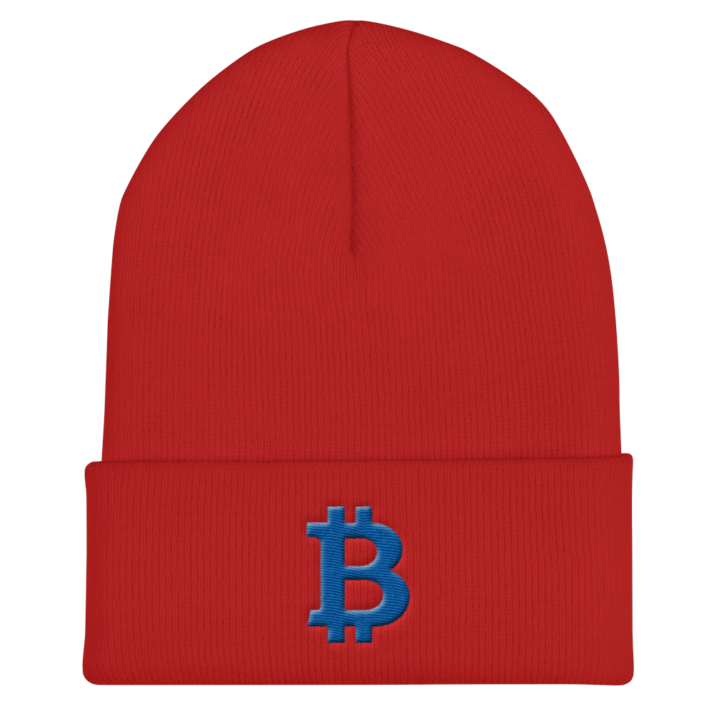 Bitcoin B Cuffed Beanie Blue Red  - zeroconfs