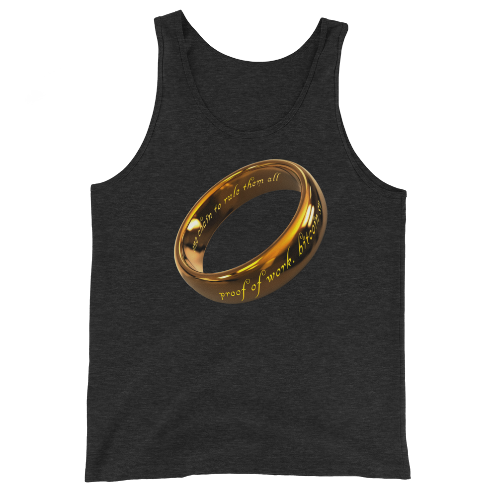 One Chain To Rule Them All Bitcoin SV Tank Top Charcoal-Black Triblend XS - zeroconfs