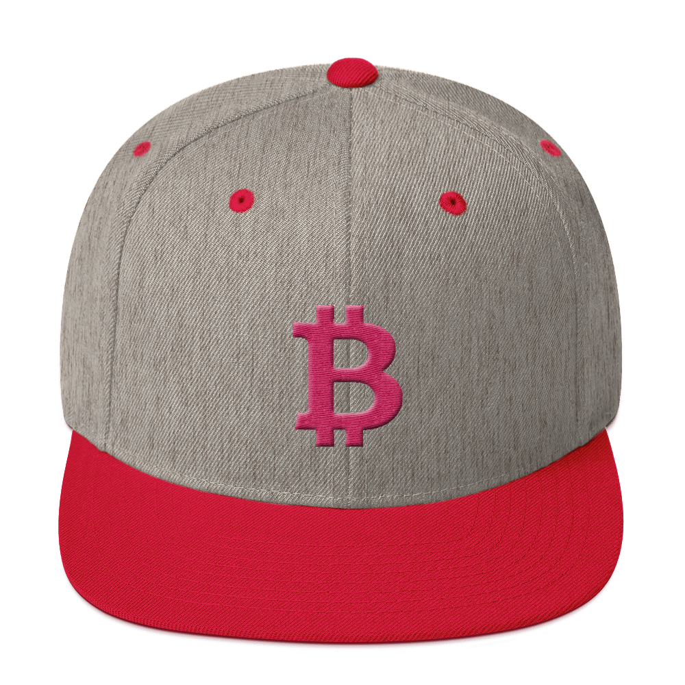 Bitcoin B Snapback Hat Pink Heather Grey/ Red  - zeroconfs
