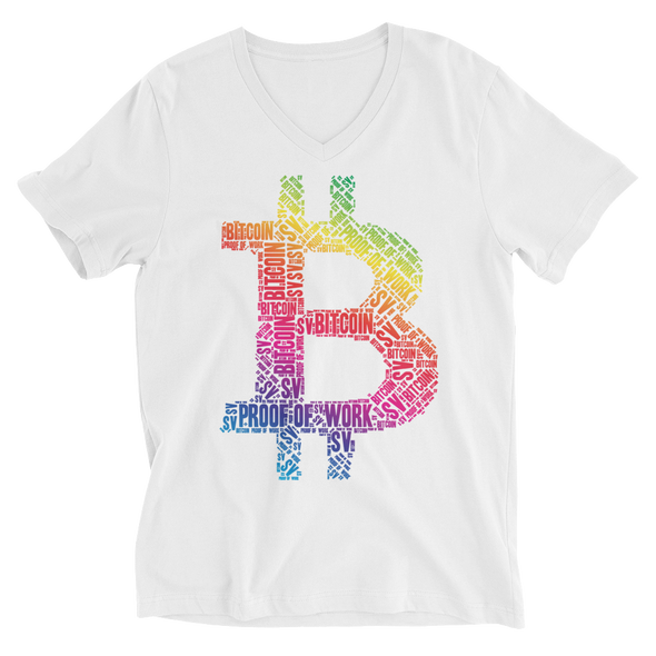 Bitcoin SV Proof Of Work V-Neck T-Shirt White S - zeroconfs