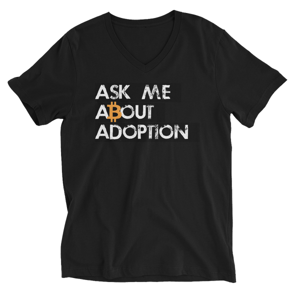 Ask Me About Adoption Bitcoin V-Neck T-Shirt Black S - zeroconfs