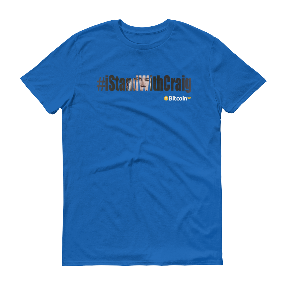 #iStandWithCraig Bitcoin SV Short-Sleeve T-Shirt Royal Blue S - zeroconfs