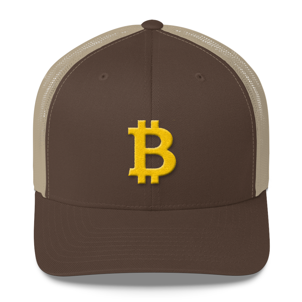 Bitcoin B Trucker Cap Brown/ Khaki  - zeroconfs