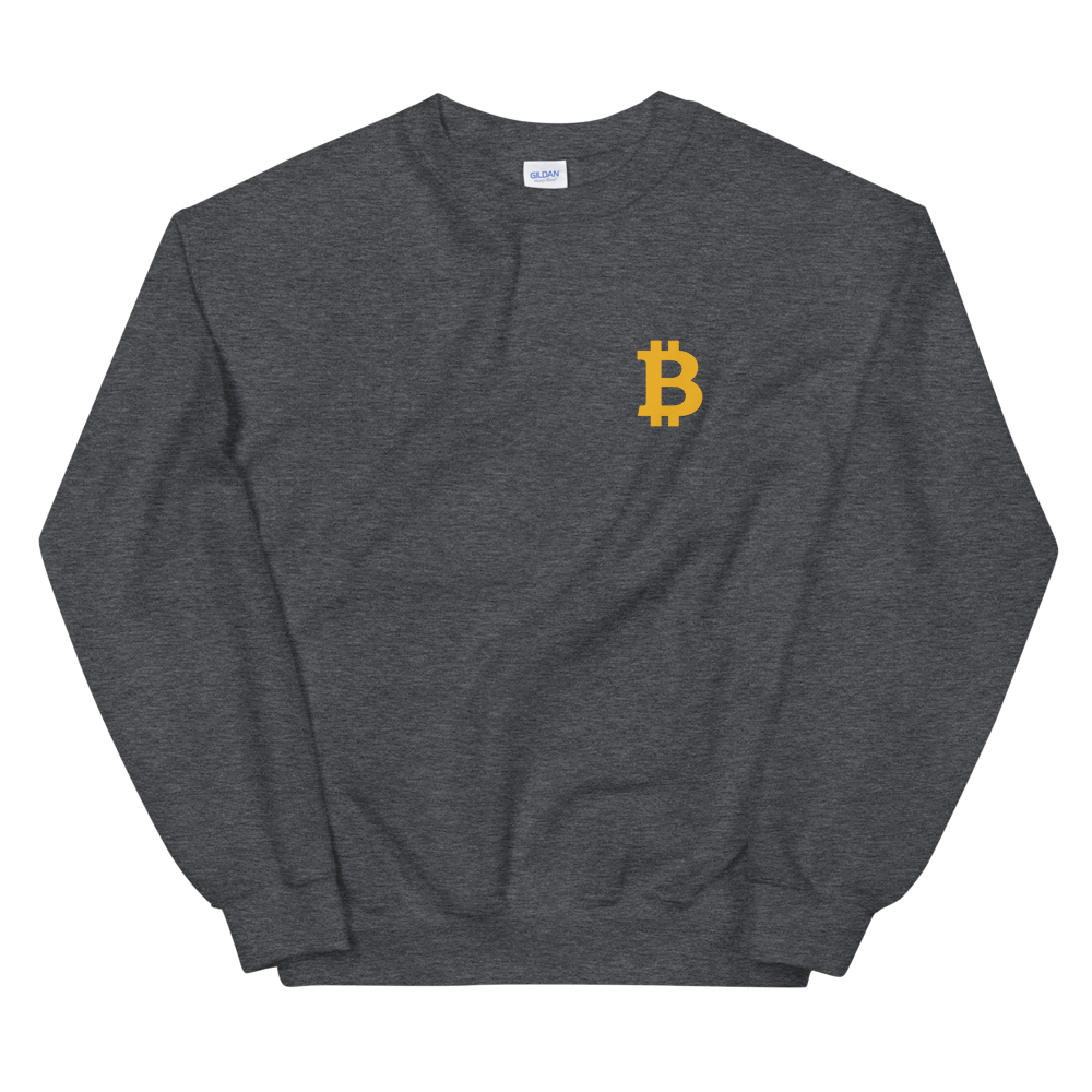 Bitcoin Small B Sweatshirt Dark Heather S - zeroconfs