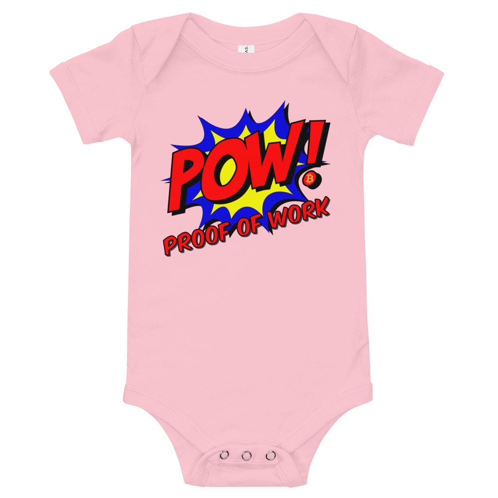 Proof Of Work Bitcoin SV Baby Bodysuit Pink 3-6m - zeroconfs