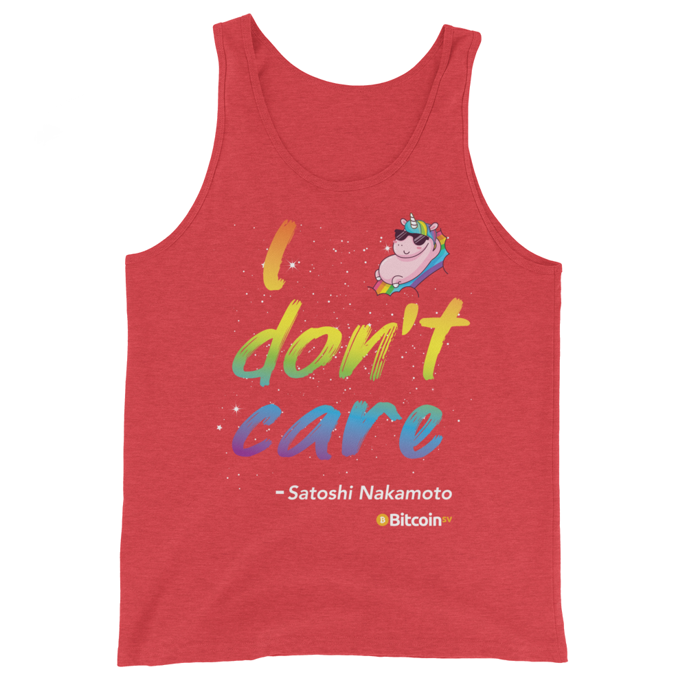 I Don't Care Bitcoin SV Tank Top Red Triblend XS - zeroconfs