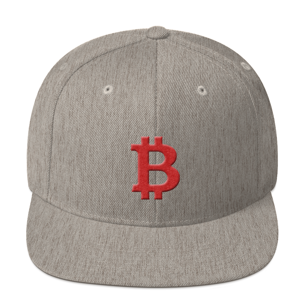 Bitcoin B Snapback Hat Red Heather Grey  - zeroconfs