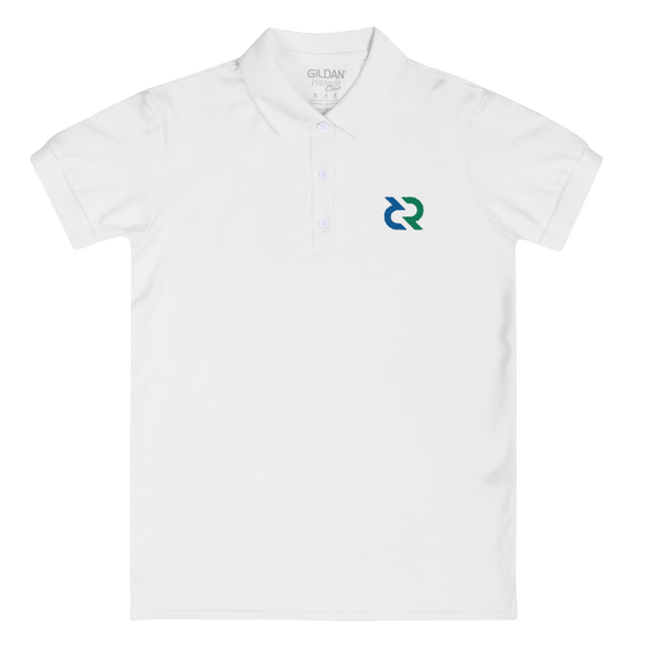 Decred Embroidered Women's Polo Shirt White S - zeroconfs