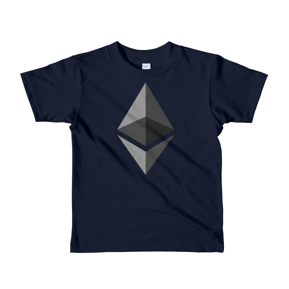 Ethereum Short Sleeve Kids T-Shirt Navy 2yrs - zeroconfs