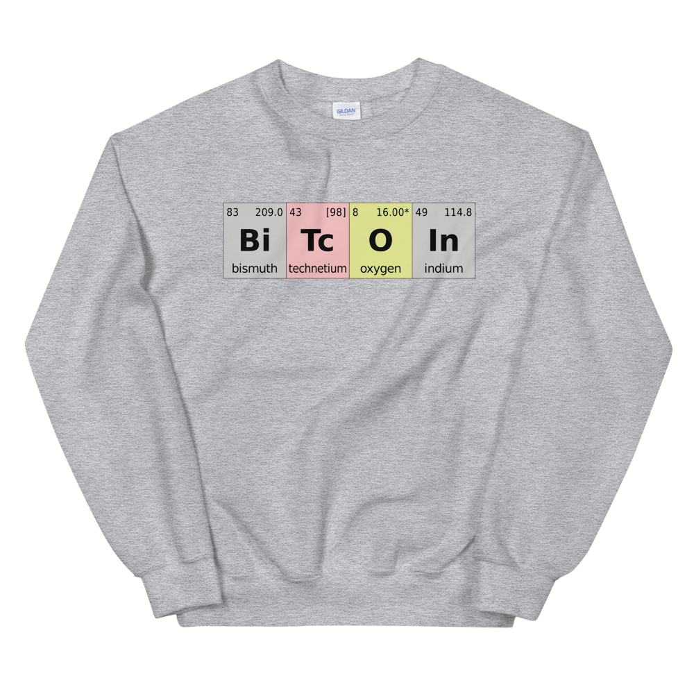 Bitcoin Periodic Table Sweatshirt Sport Grey S - zeroconfs