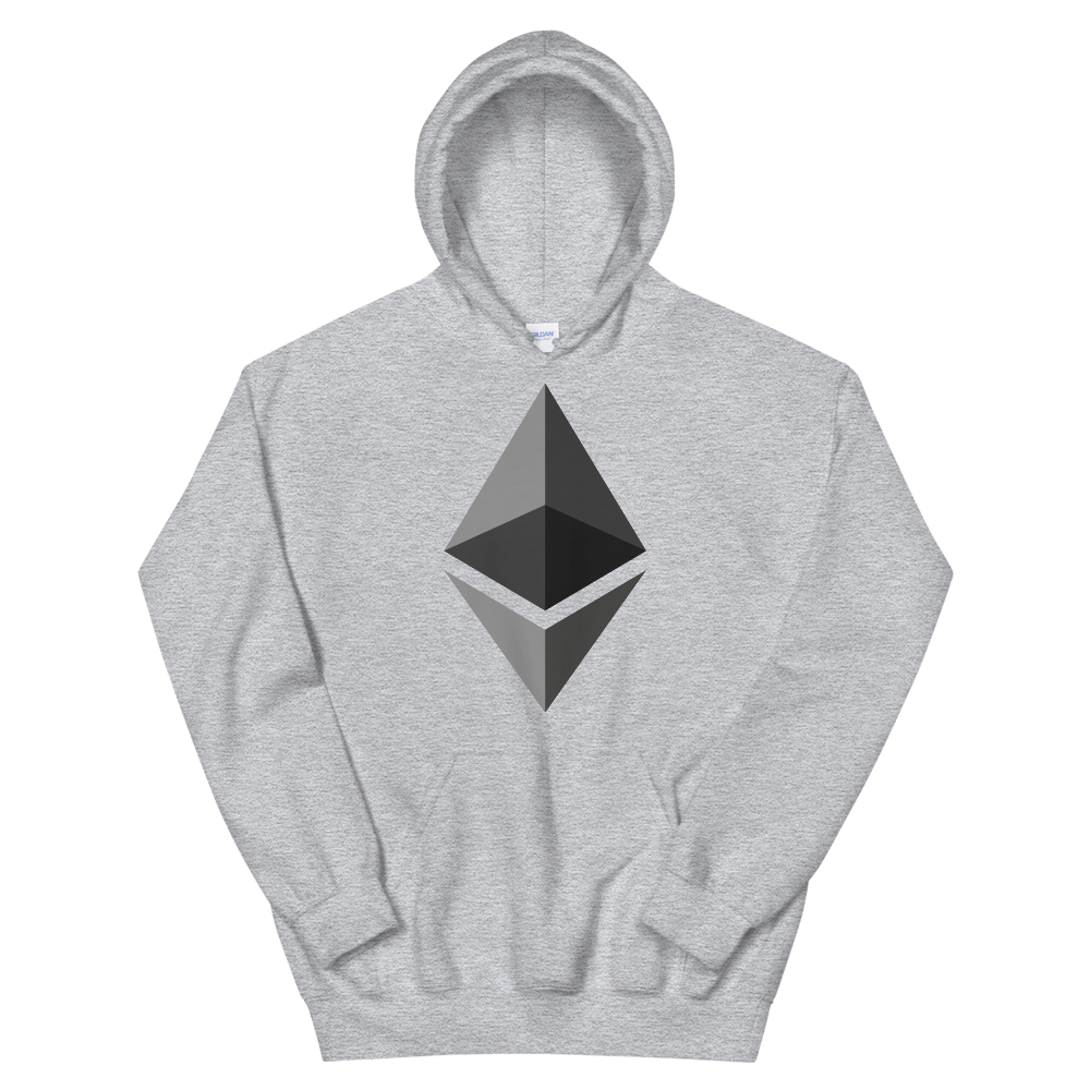Ethereum Hooded Sweatshirt Sport Grey S - zeroconfs