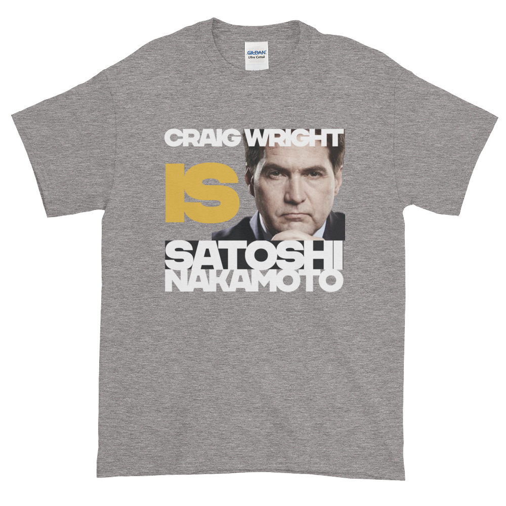 Craig Is Satoshi Short-Sleeve T-Shirt Plus Size Sport Grey XL - zeroconfs