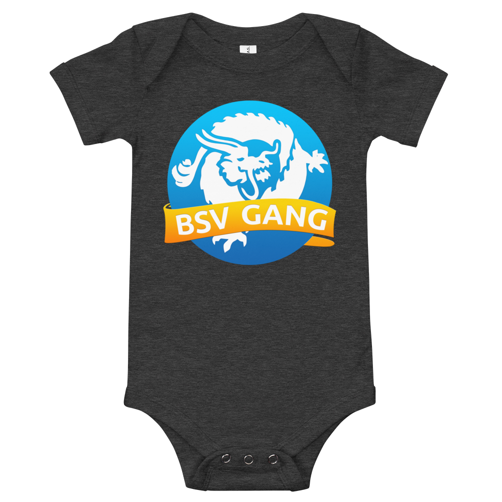 Bitcoin SV Gang Baby Bodysuit Dark Grey Heather 3-6m - zeroconfs