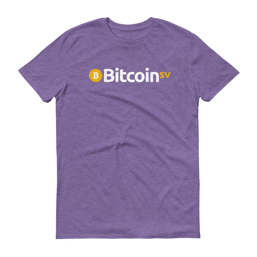 Bitcoin SV Short-Sleeve T-Shirt Heather Purple S - zeroconfs
