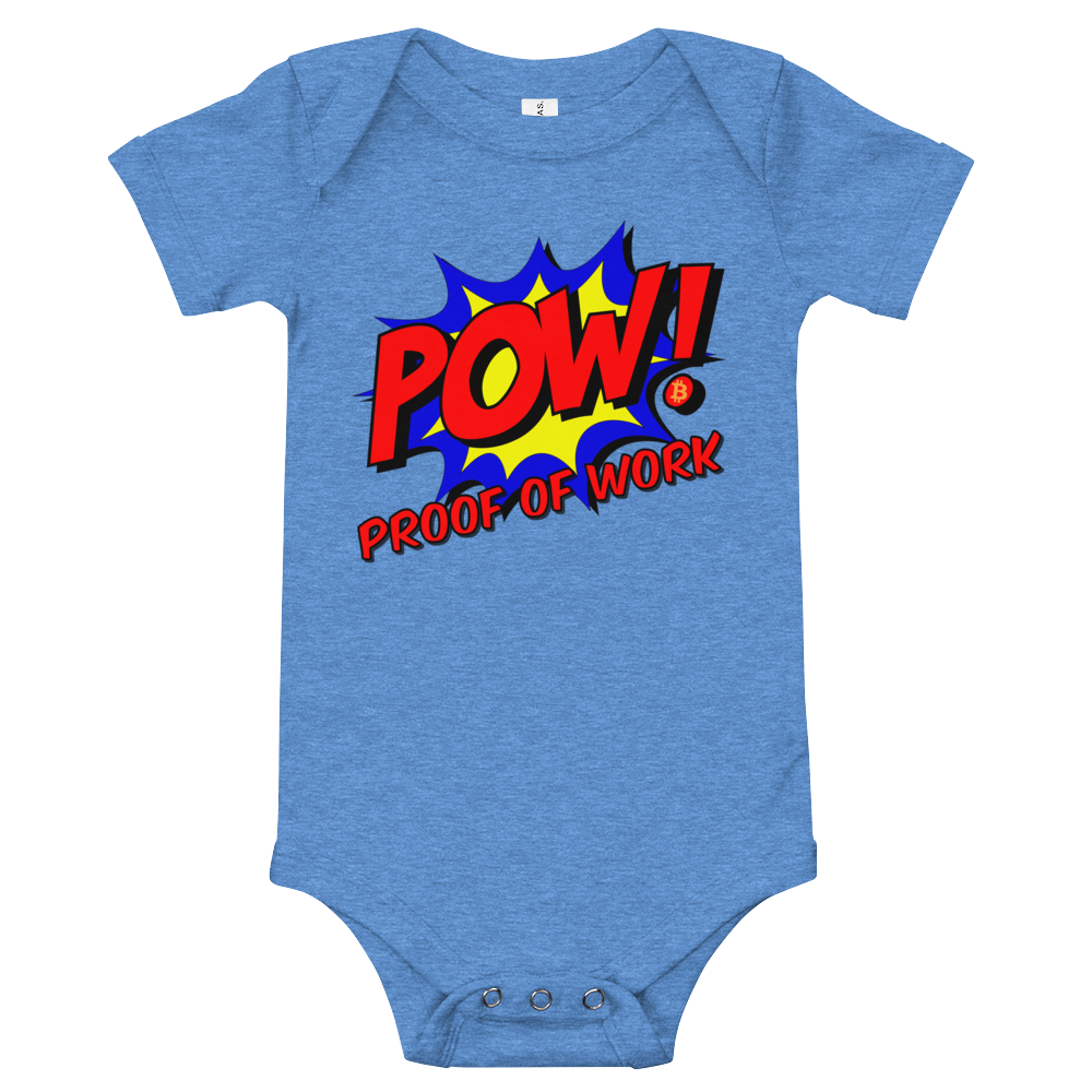 Proof Of Work Bitcoin SV Baby Bodysuit Heather Columbia Blue 3-6m - zeroconfs