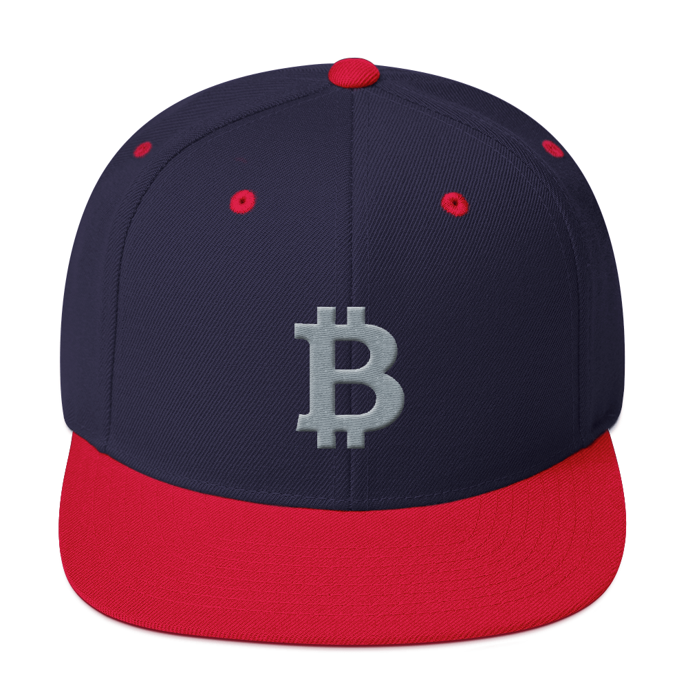 Bitcoin B Snapback Hat Gray Navy/ Red  - zeroconfs
