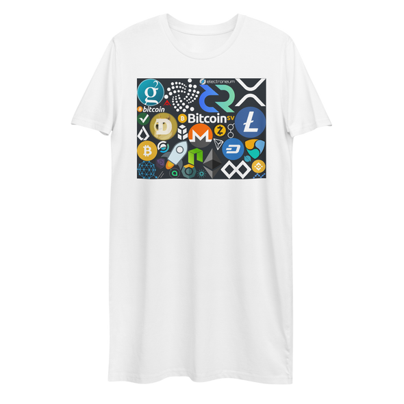 Crypto Calling Premium T-Shirt Dress White XS - zeroconfs