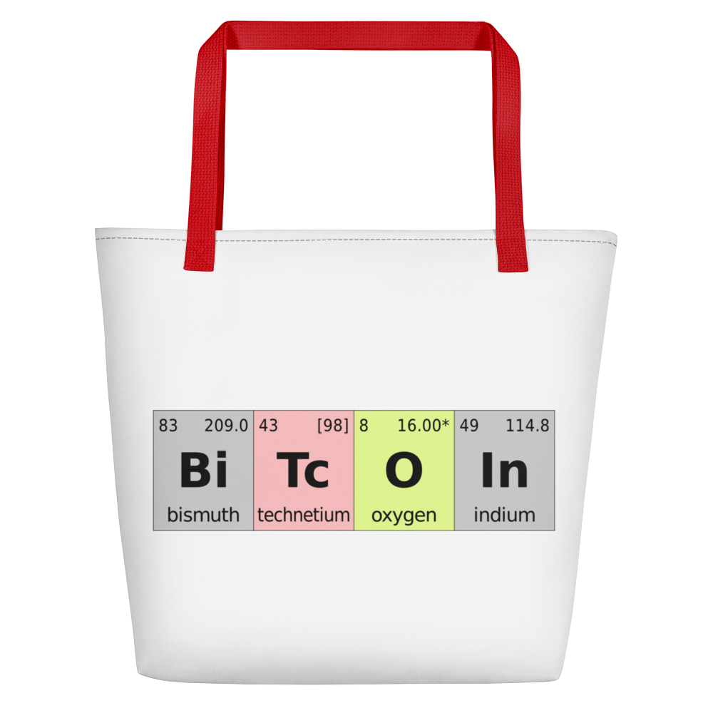 Bitcoin Periodic Table White Beach Bag Red  - zeroconfs