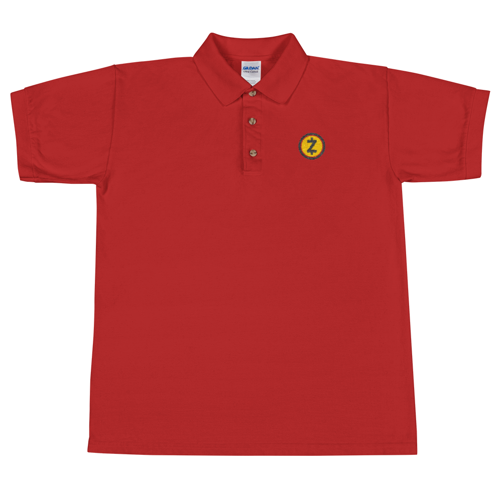 Zcash Embroidered Polo Shirt Red S - zeroconfs