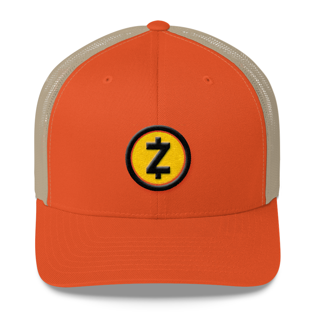 Zcash Trucker Cap Rustic Orange/ Khaki  - zeroconfs