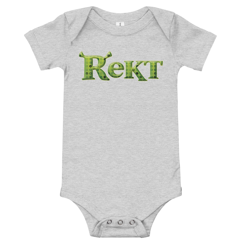 Rekt Crypto Baby Bodysuit Athletic Heather 3-6m - zeroconfs