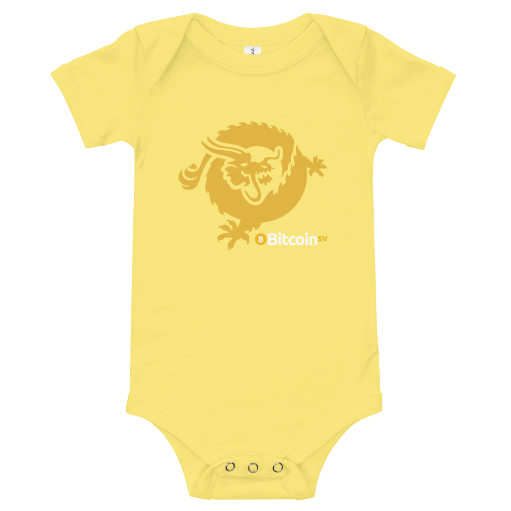 Bitcoin SV Dragon Baby Bodysuit Yellow 3-6m - zeroconfs