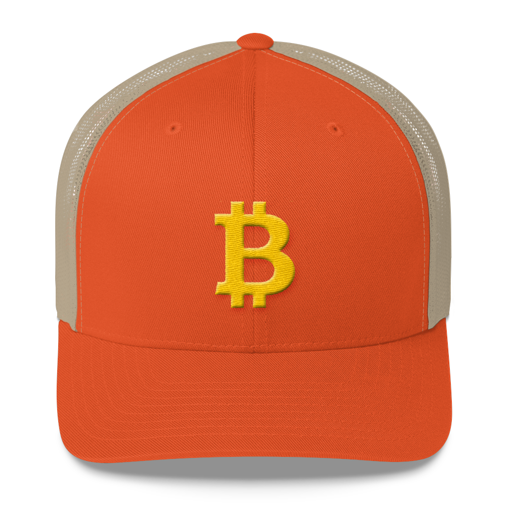 Bitcoin B Trucker Cap Rustic Orange/ Khaki  - zeroconfs