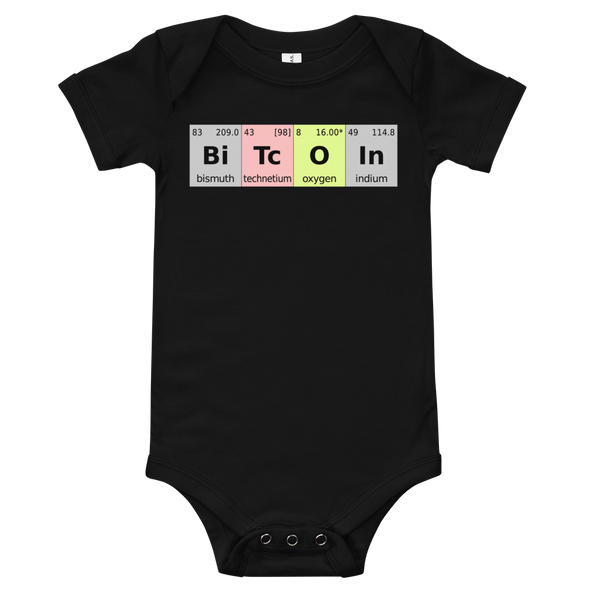 Bitcoin Periodic Table Baby Bodysuit Black 3-6m - zeroconfs