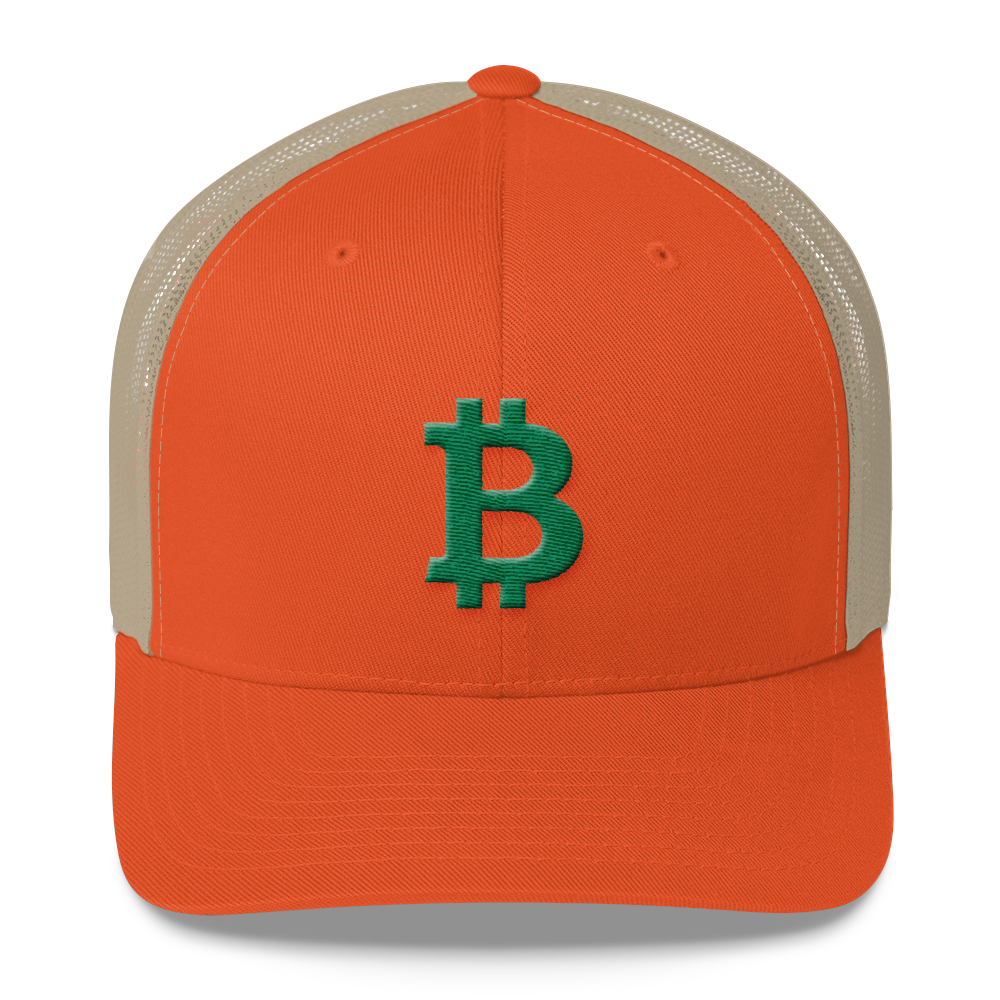 Bitcoin B Trucker Cap Green Rustic Orange/ Khaki  - zeroconfs