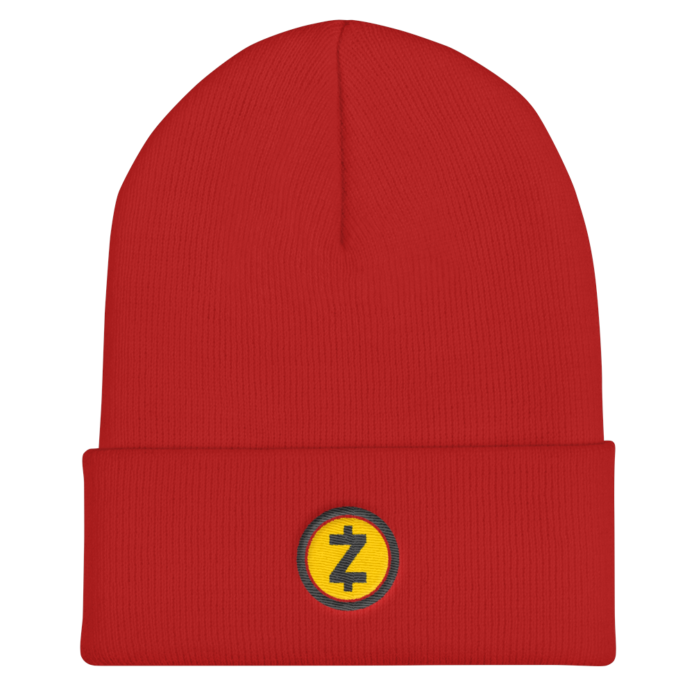Zcash Cuffed Beanie Red  - zeroconfs