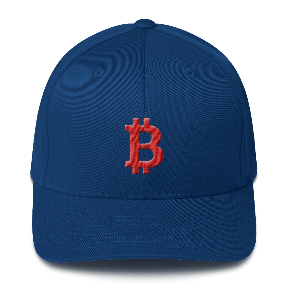 Bitcoin B Flexfit Cap Red Royal Blue S/M - zeroconfs