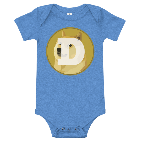 Dogecoin Baby Bodysuit Heather Columbia Blue 3-6m - zeroconfs