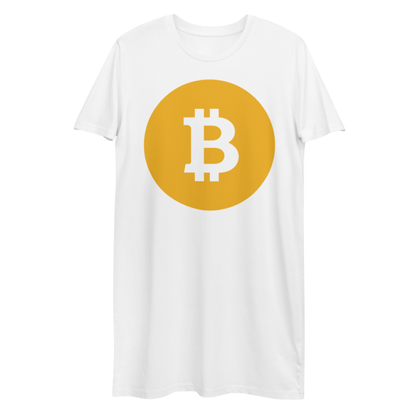 Bitcoin SV Logo Premium T-Shirt Dress White XS - zeroconfs