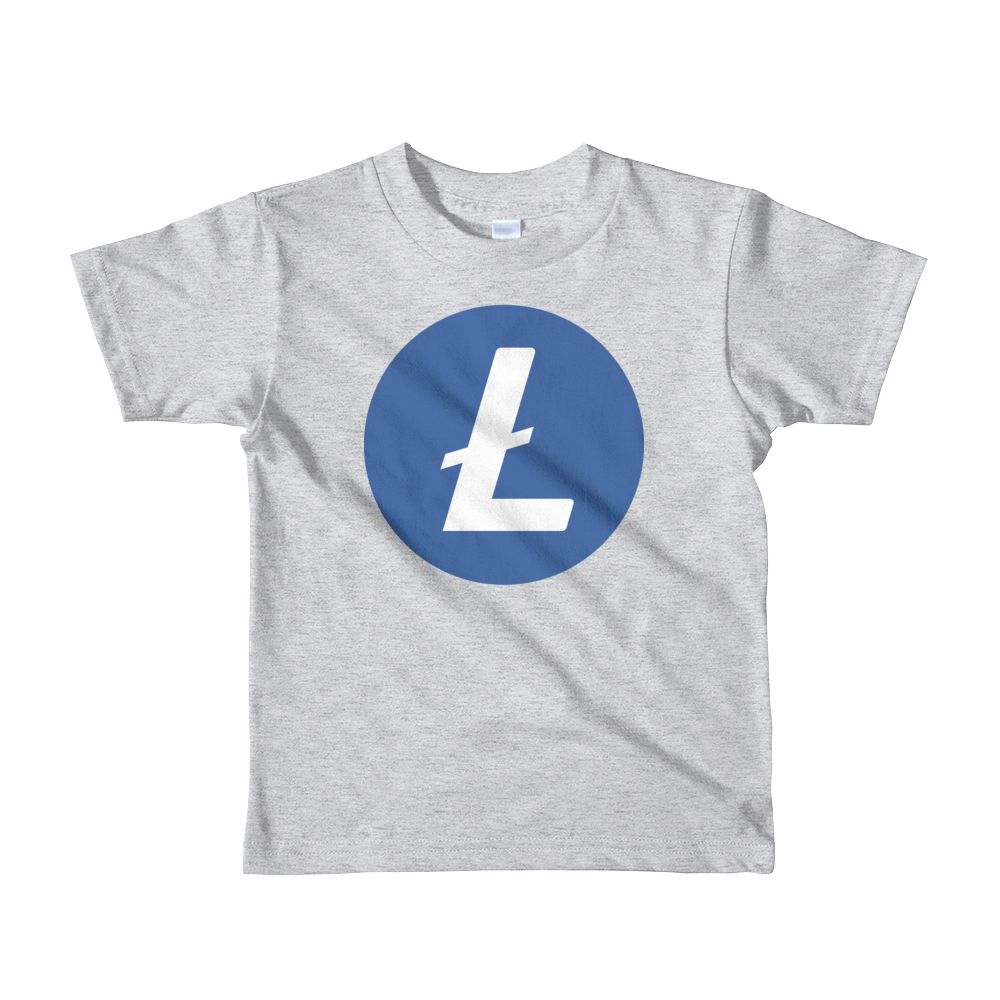 Litecoin Short Sleeve Kids T-Shirt Heather Grey 2yrs - zeroconfs