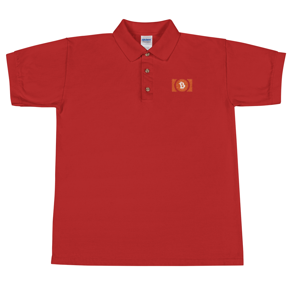 Bitcoin Cash Embroidered Polo Shirt Red S - zeroconfs