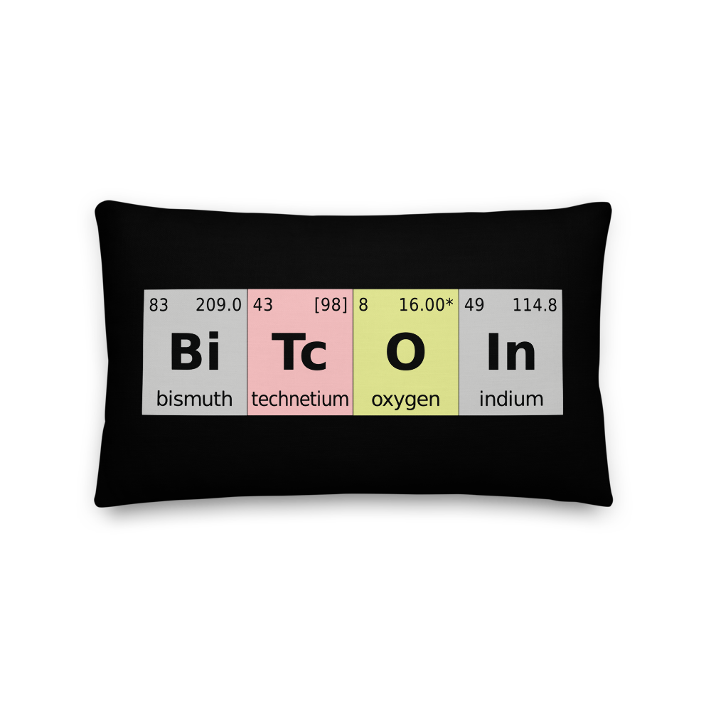 Bitcoin Periodic Table Premium Pillow 20×12  - zeroconfs
