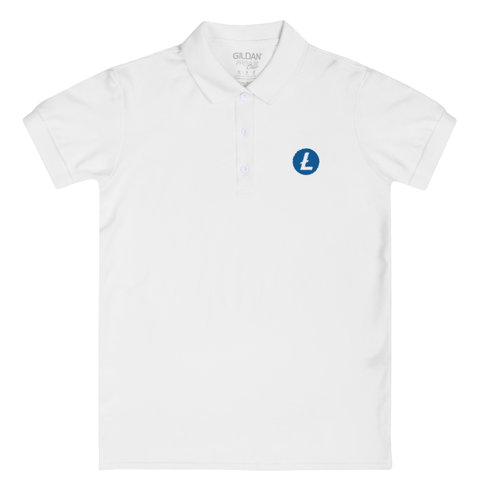 Litecoin Embroidered Women's Polo Shirt White S - zeroconfs