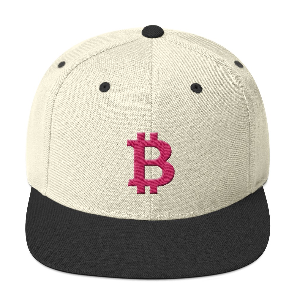 Bitcoin B Snapback Hat Pink Natural/ Black  - zeroconfs