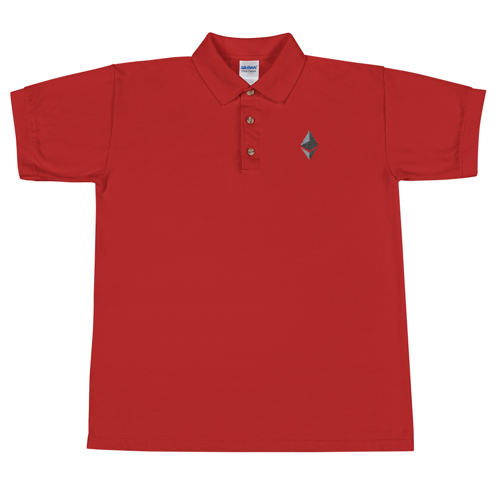 Ethereum Embroidered Polo Shirt Red S - zeroconfs